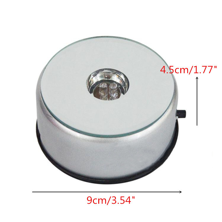 3D LED Unique Small Round Rotating Crystal Jewelry Display Base Stand Holder