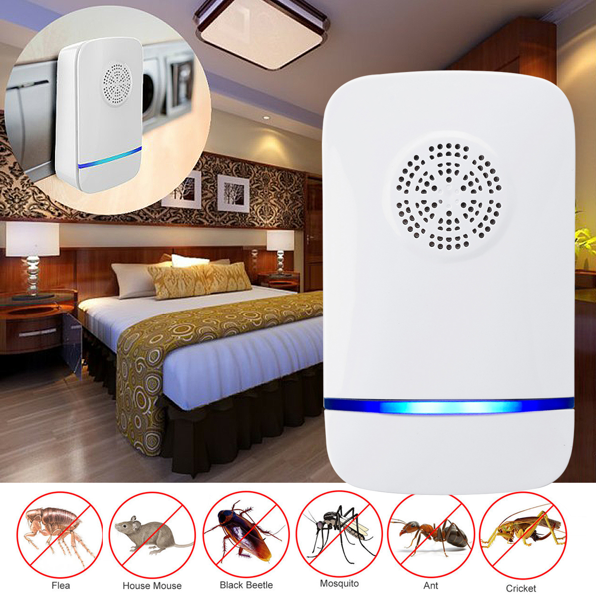 Ultrasonic Insect Repeller Pests Control Ultrasonic Repellent Electronic Plug For Insects