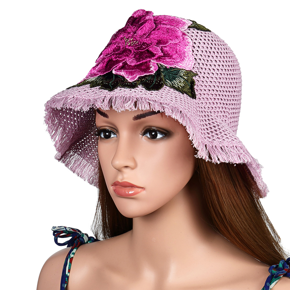 Women Breathable Embroidered Wide Brim Hat