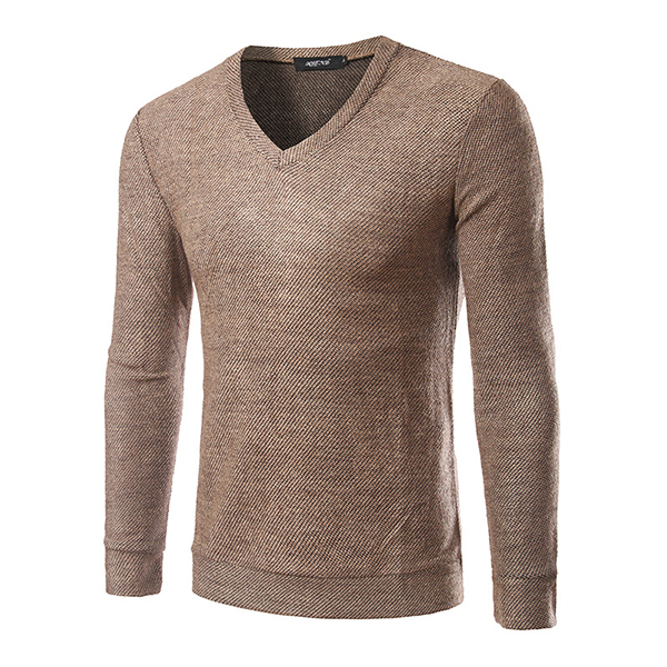 Mens Casual V-neck Bottoming Knitted Tops Tees Solid Color Long Sleeved Sweater T-shirt