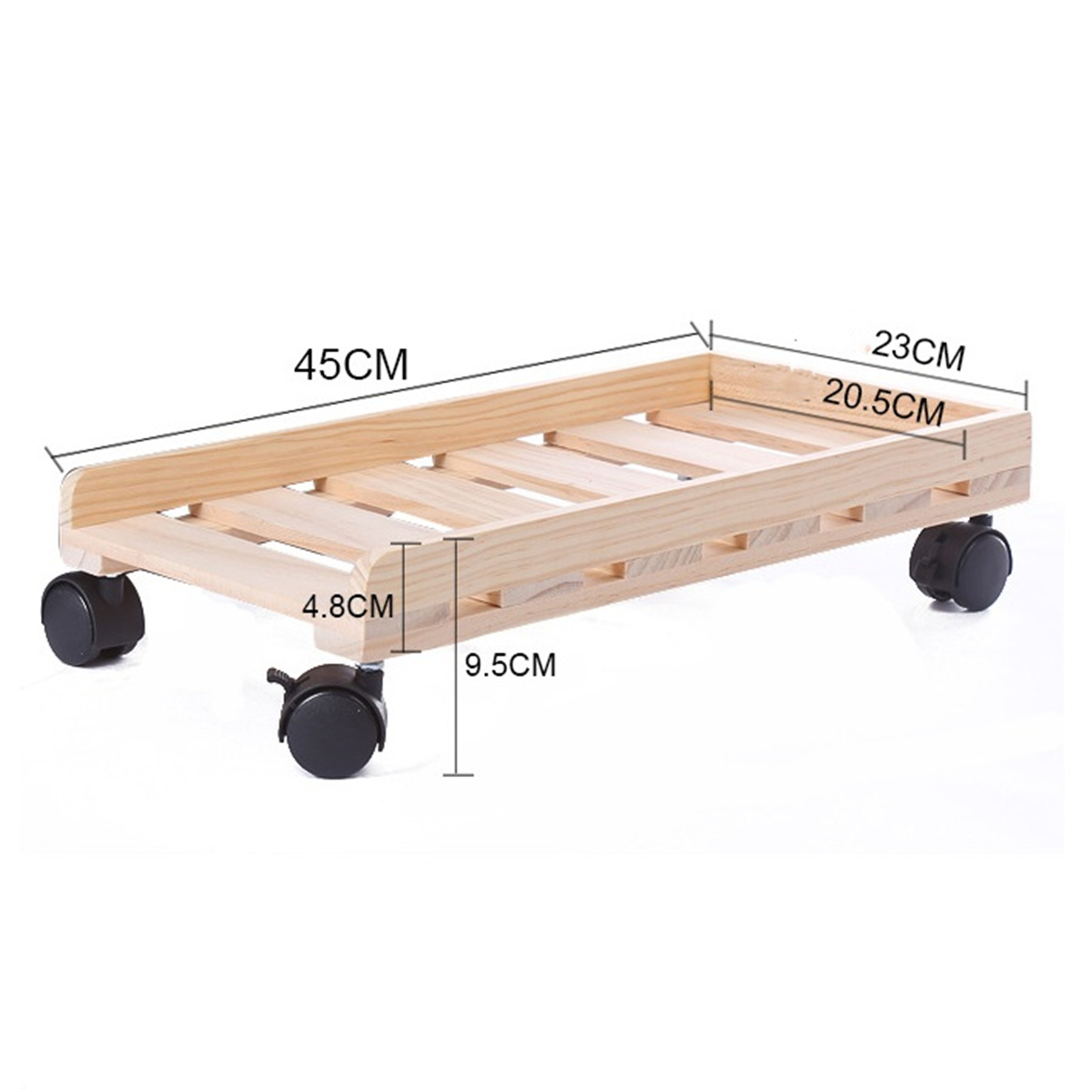 H-type Four Wheel Thickening Wood Computer Case Host Moving Bracket Adjustable CPU Stand