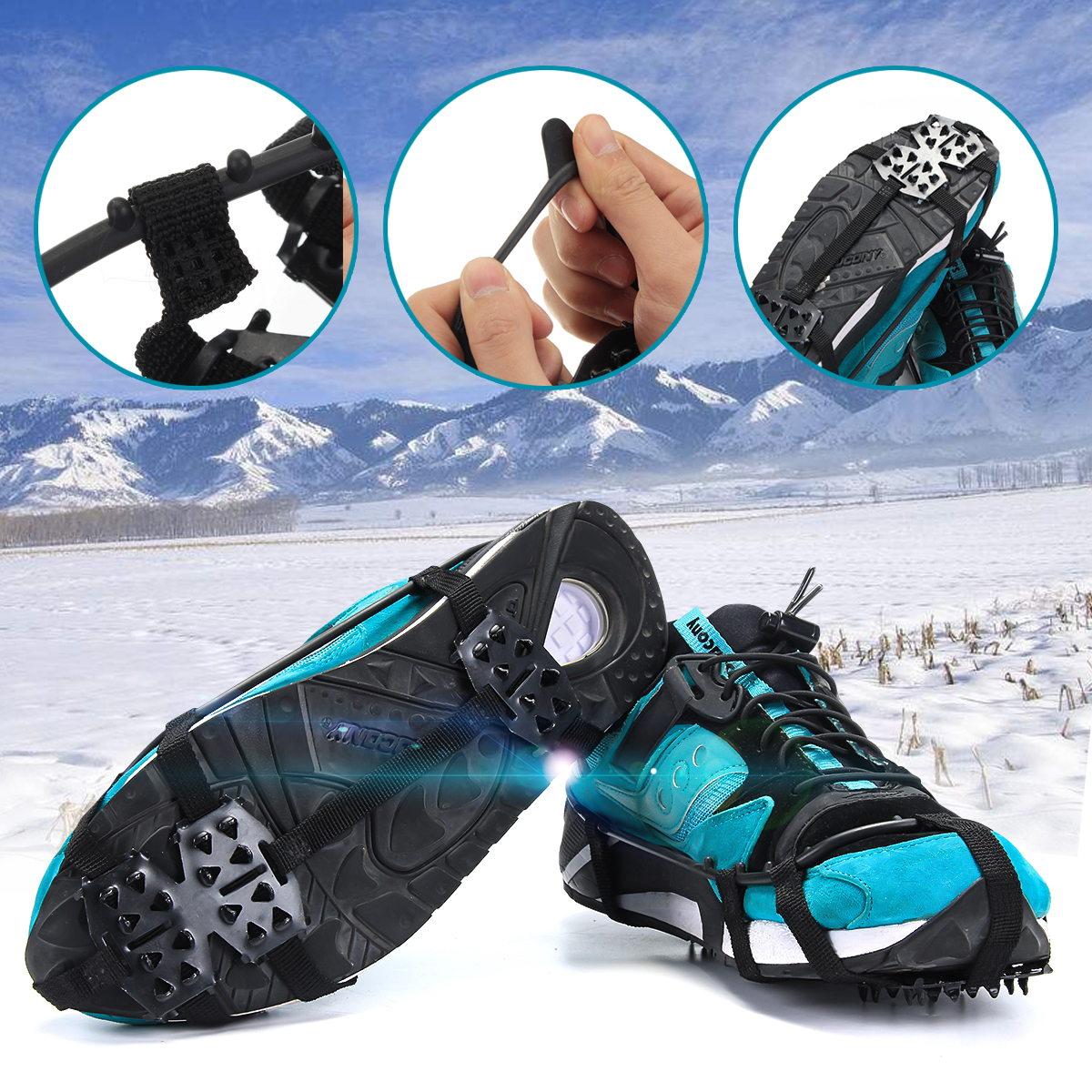 Ice Snow Studs Non-Slip Spikes Shoes Boots Grippers Cover Crampon Walk- 1 Pair