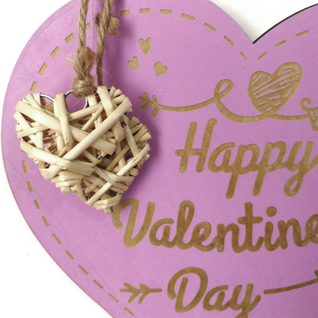 Valentine's Day Laser Engraving Wood Heart Door Decor Wall Hanging Sign Craft Ornaments Party Decorations