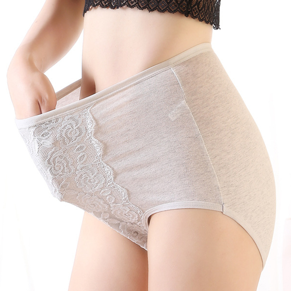 Comfy Lace Soft High Rise Hip Lifting Pure Color Cotton Stretchy Briefs Underwear