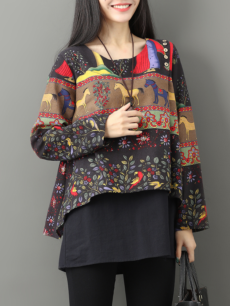 Gracila Ethnic Floral Print Double Layered Blouse