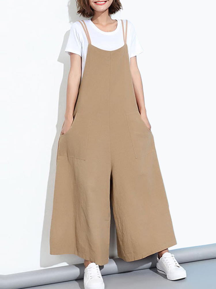 Loose Casual Women Pure Color Wide-Leg Overalls With Pocket
