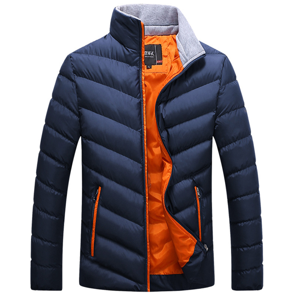 Mens Winter Thick Hooded Stitching Padded Jacket