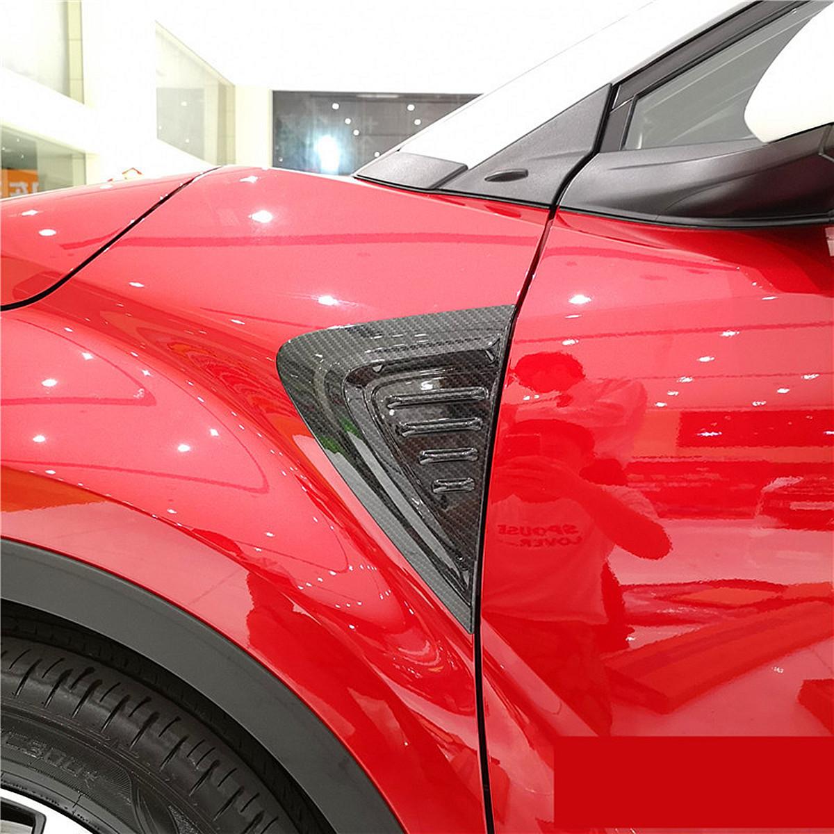 Pair 3D Carbon Fiber Car Side Wing Air Vent Fender Cover Trim Stickers Decor for Toyota C-HR 17-18