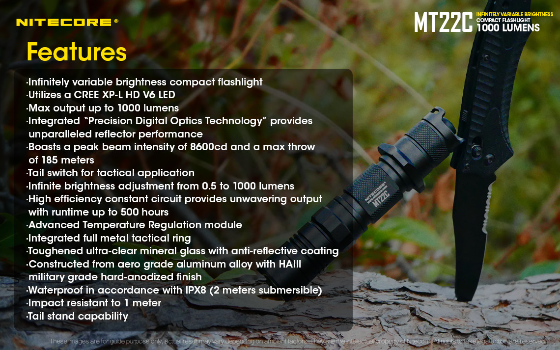 Nitecore MT22C XP-L HD V6 1000Lumens 3Modes Stepless Dimming Tactical LED Flashlight