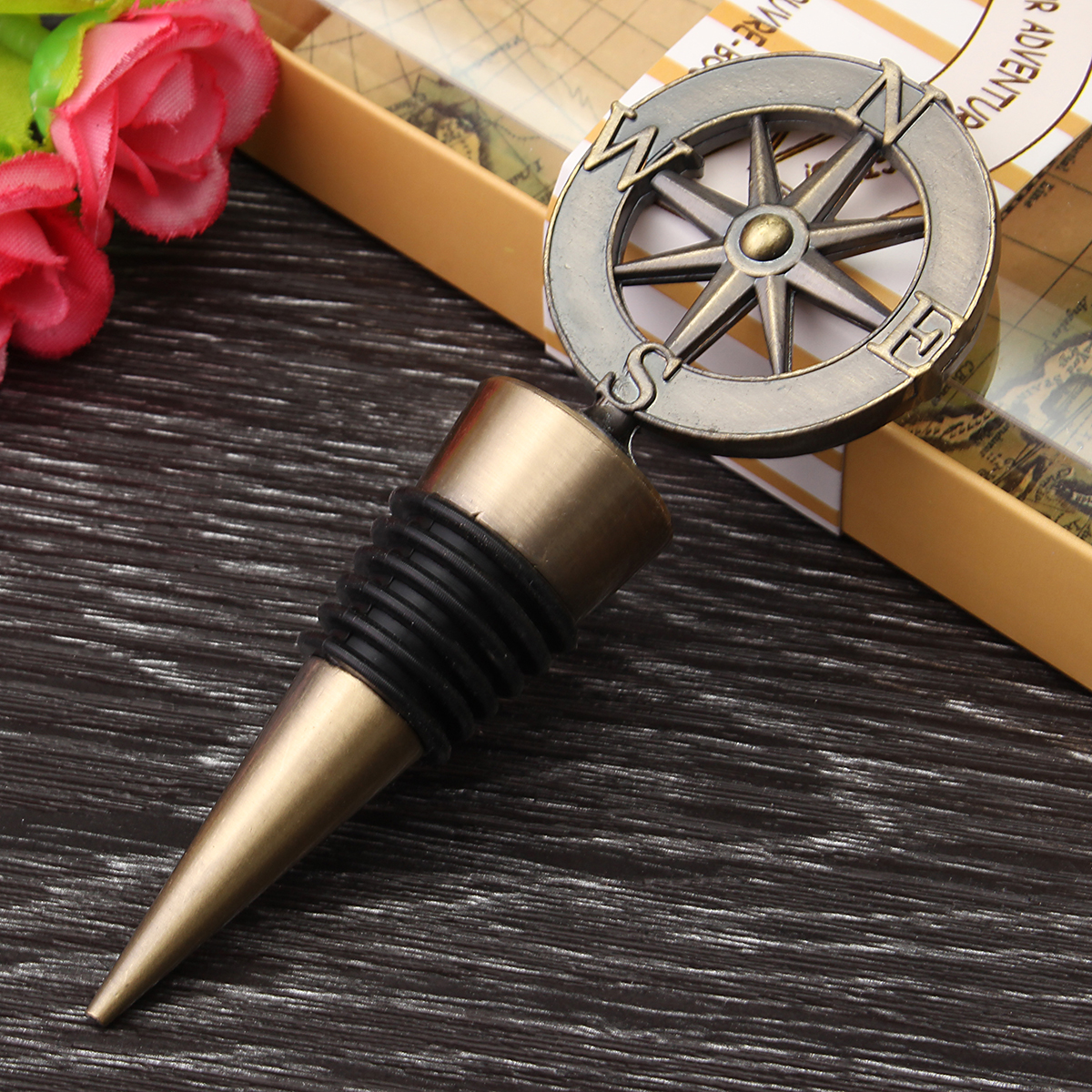 Golden Compass Wine Stopper Wedding Favors Gifts Wine Bottle Opener Bar Tools Souvenirs