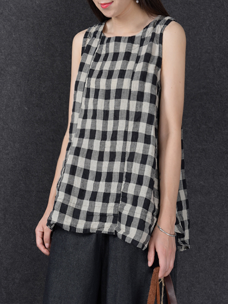 S-5XL Casual Women Plaid Sleeveless Shirts