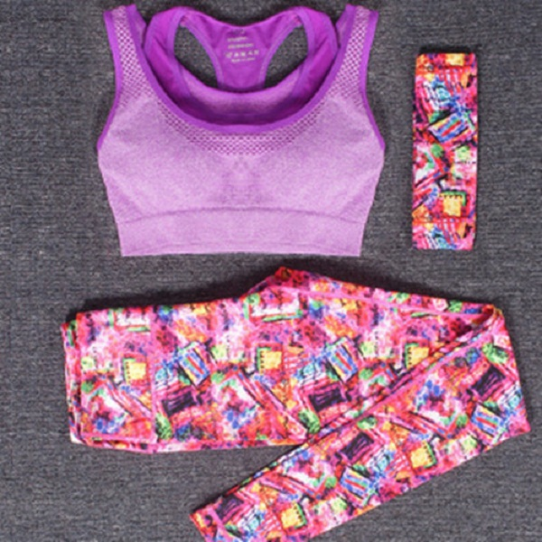 Women's Yoga Clothing Suit Yoga Pants Sports Three-Piece Running Fitness Clothes Gym Suit