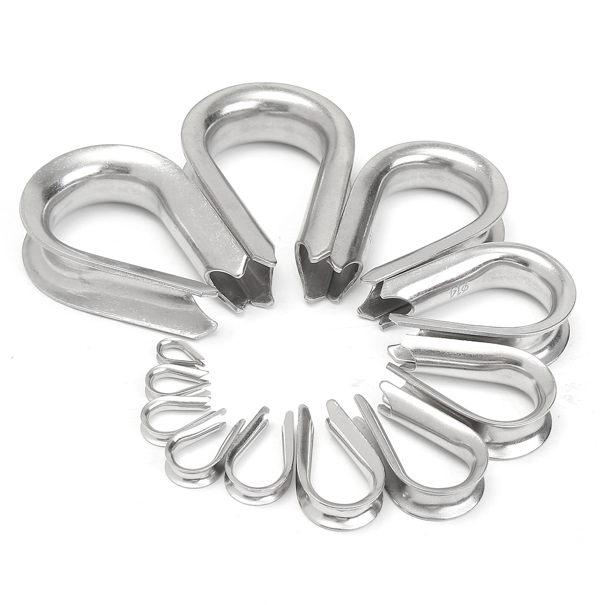 304 Stainless Steel M2 to M20 Silver Cable Wire Rope Thimbles Rigging Hardware 12 Sizes