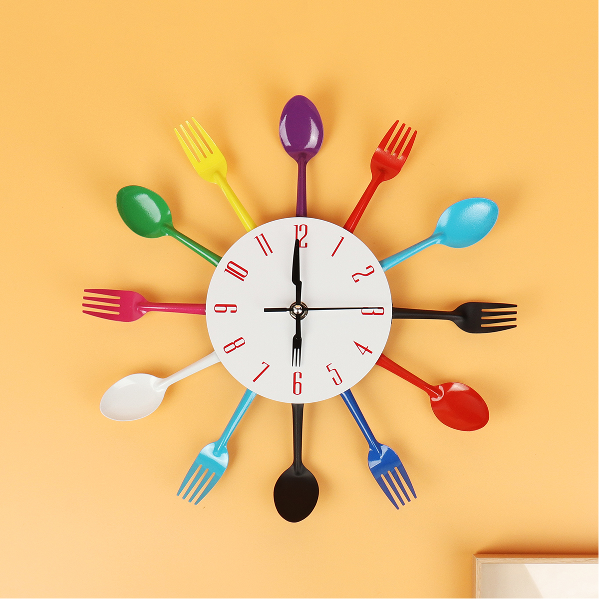 Wall Clock Digital Home Decoration Living Room Colorful Fork Spoon Quartz