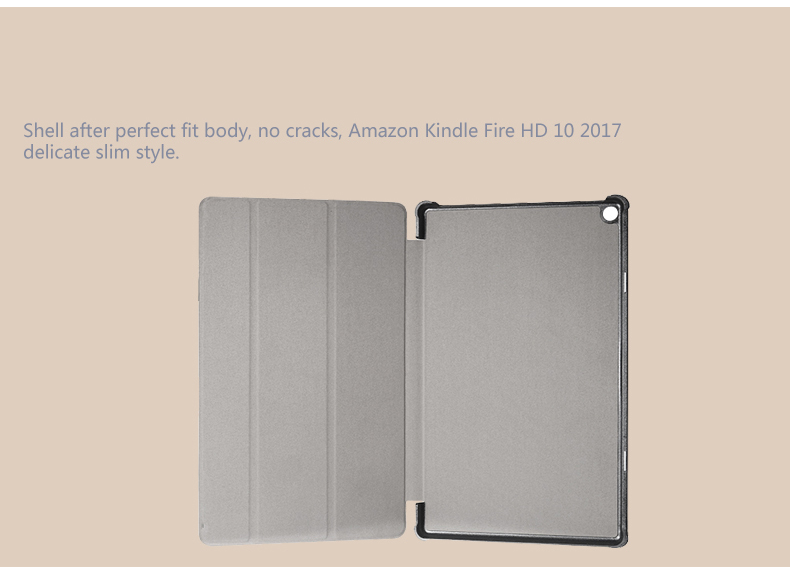 Tri Fold cover stand case for Amazon Kindle Fire HD 10 2017