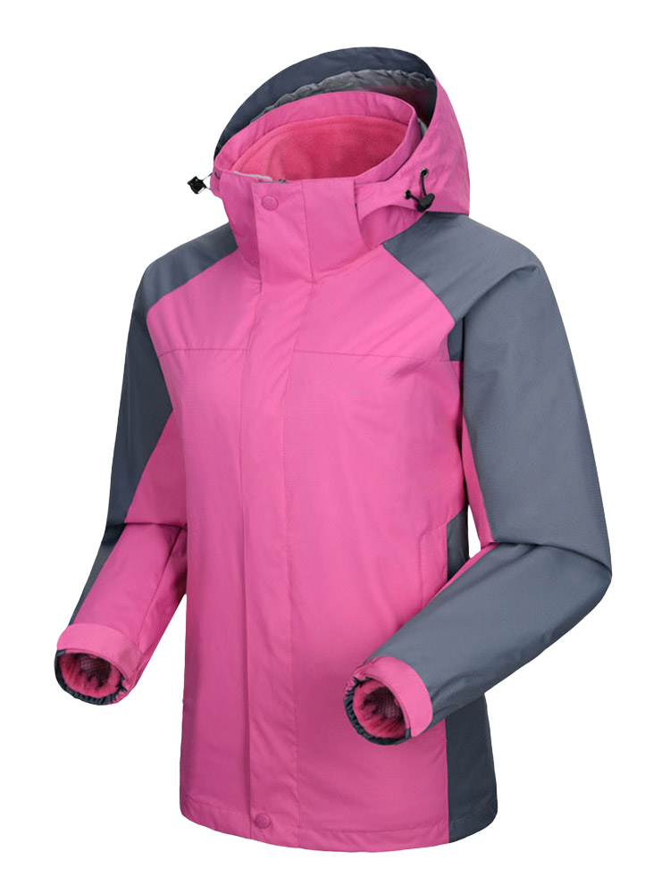 Plus Size Casual Women Windproof Zipper Hood Jacket