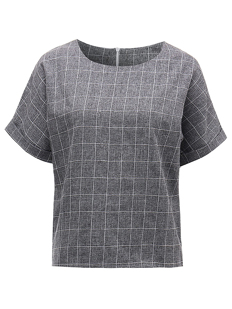 Women Loose Check Printed Linen T-Shirt Short Sleeve