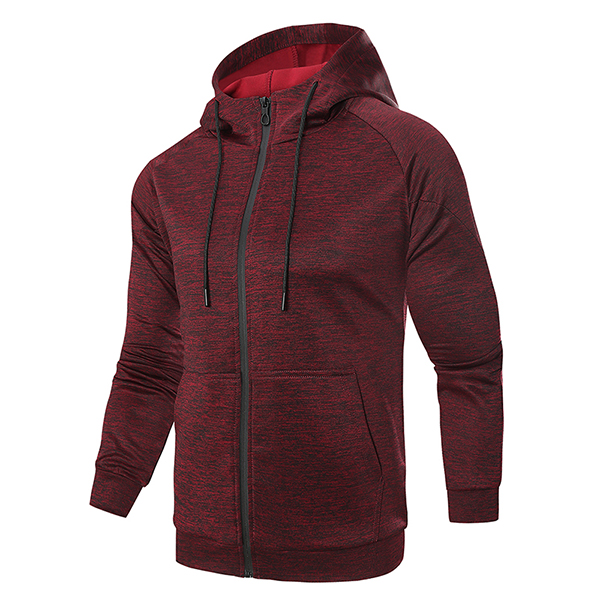 Men's Casual Zipper Hoodies Cardigan Solid Color Sports Knit Hooded Jacket