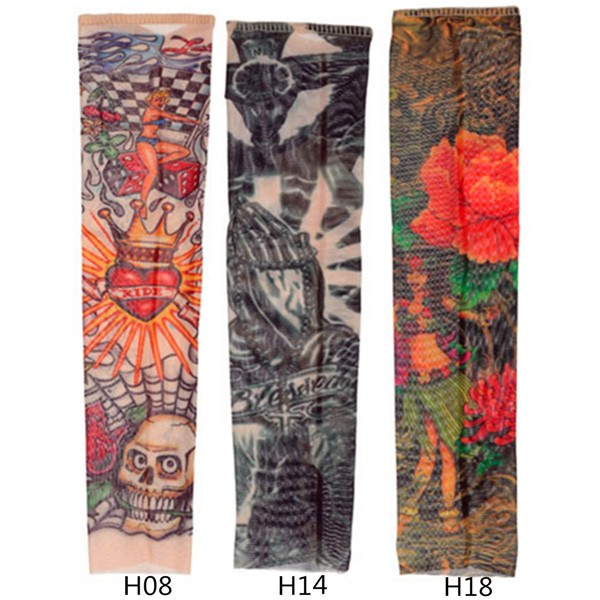 Temporary Tattoo Sleeves Kid Child Arm Stockings Nylon Stretchy