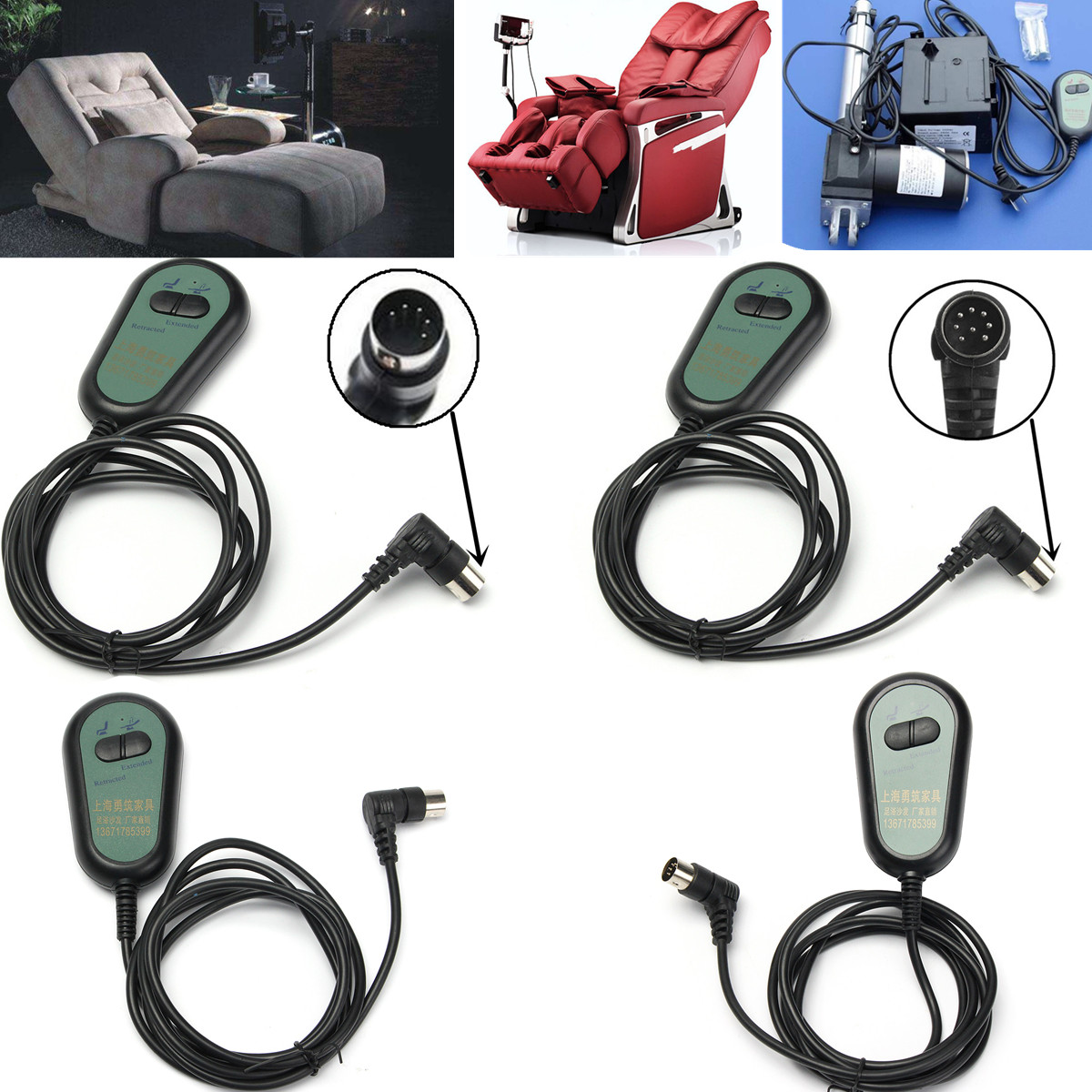 5/8 Pin 3/5 Wires 2 Button Electric Recliner Chair Hand Switch Remote Control