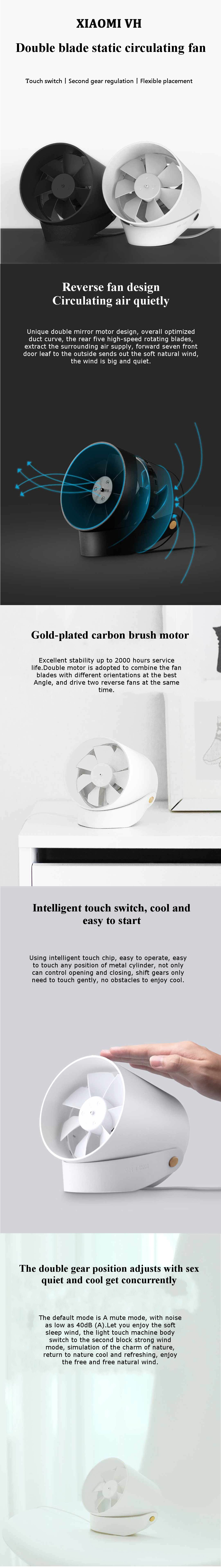 Xiaomi VH DC 5V Portable Mini USB Handheld Desktop Fan 2 Modes Smart Touch Control Wind Cooler