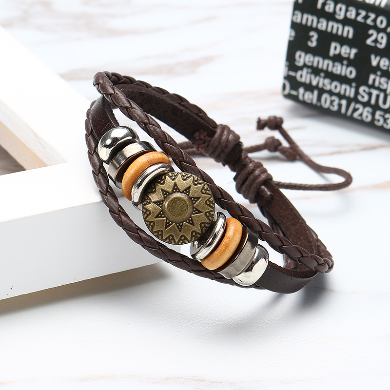 Men Women Punk Bracelet Vintage Leather Round Woven Bracelet Unisex