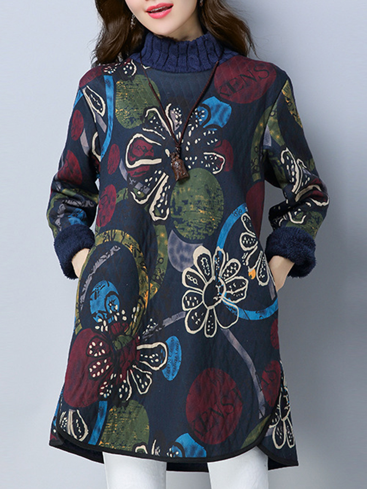 Vintage Floral Printed Thicken Dress