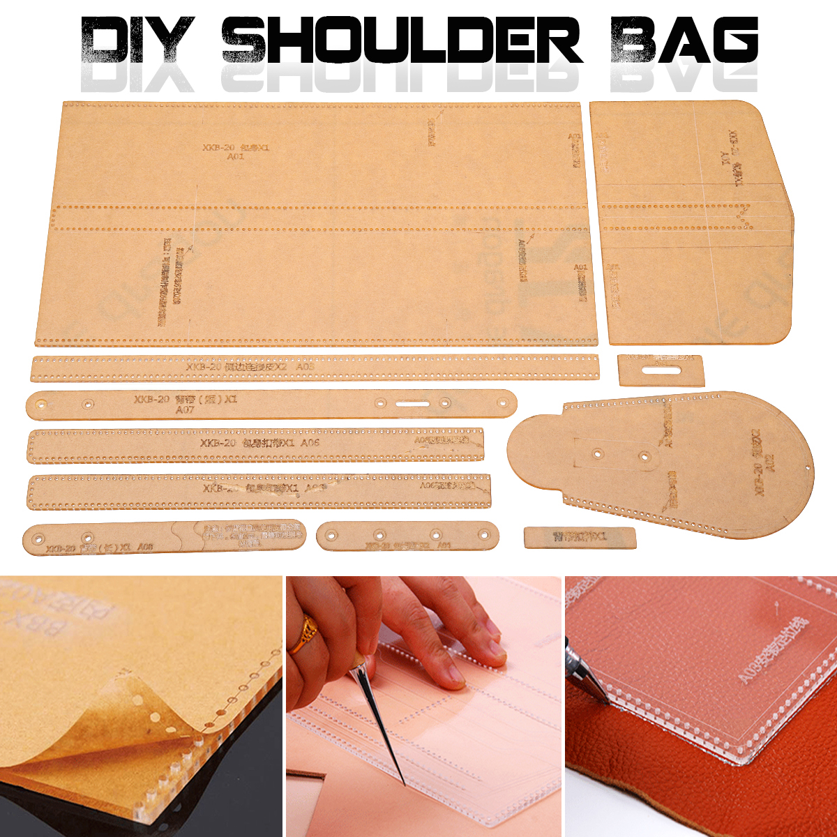 DIY Leather Craft Acrylic Lovely Shoulder Bag Stencil Templates Acrylic Template Pattern