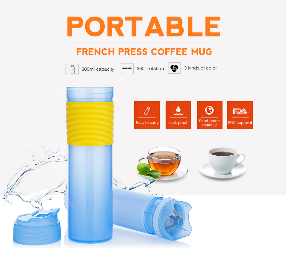 300ml Portable French Press Coffee Maker Vacuum Insulated Travel Mug Coffee Pots Outdoor Travel Drinking Bottle Kitchen Tools