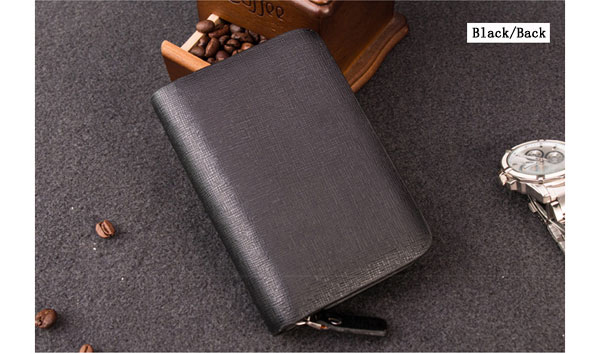 Men Pu Leather Card Holder Solid Zipper Business Key Pouch