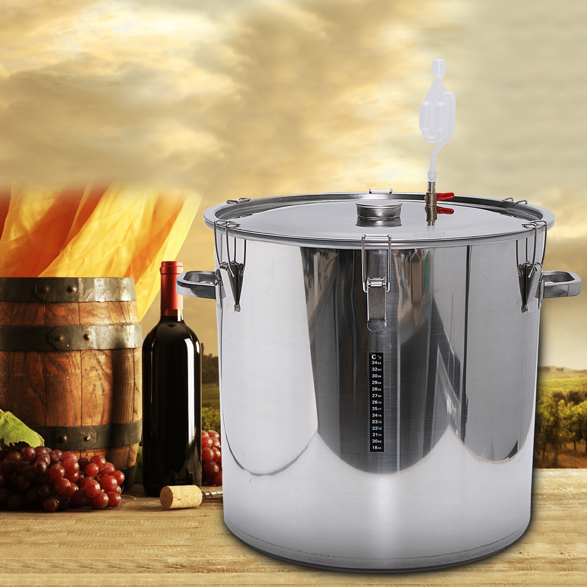 Stainless Steel Fermenter Barrel Home Brew Beer Wine Fermentation 12/36/50/70/100L