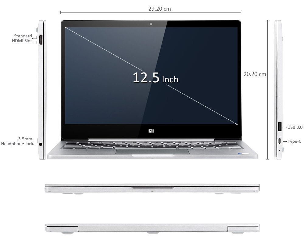 Original Xiaomi Mi Notebook Air 12.5 Inch Windows 10 7th Intel Core m3-7Y30 4GB RAM 128GB SSD Laptop