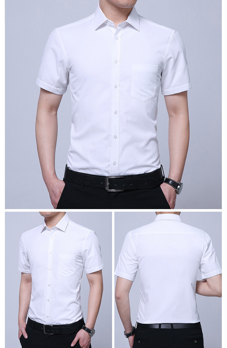 Mens Non-iron Business Short Sleeve Summer White Dress Shirt