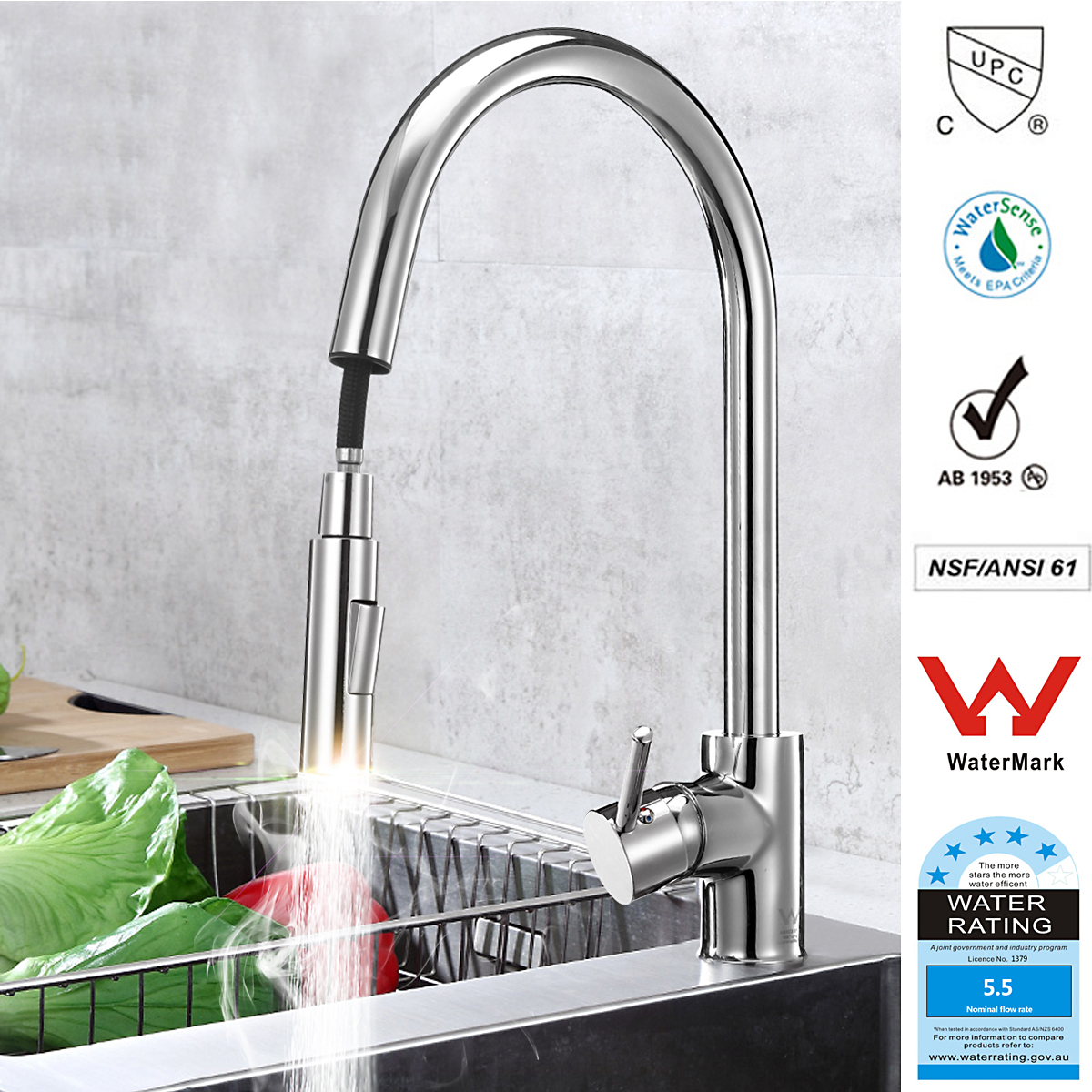 Kitchen Sink Pull-out Spray Faucet DR Brass Single Handle Cold and Hot Water Mixer Tap