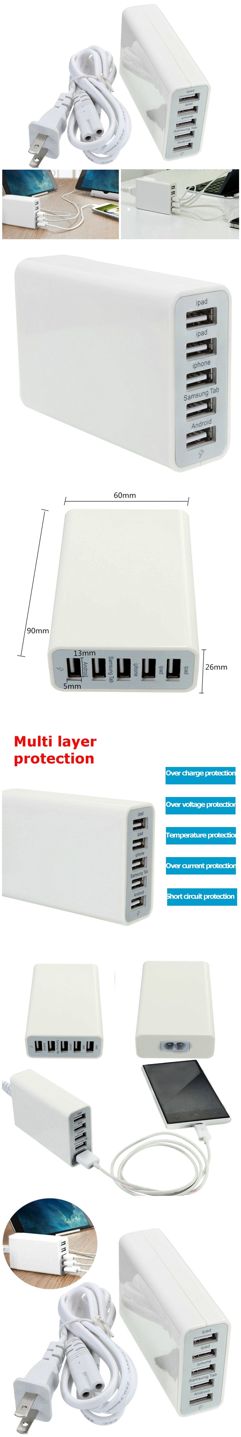 40W 8A 5V 5 Port USB Intelligent Hub Wall Charger Travel Adapter For iPhone iPad Samsung