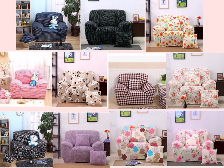 One Seater Textile Spandex Strench Flexible Printed Elastic Sofa Couch Cover Furniture Protector