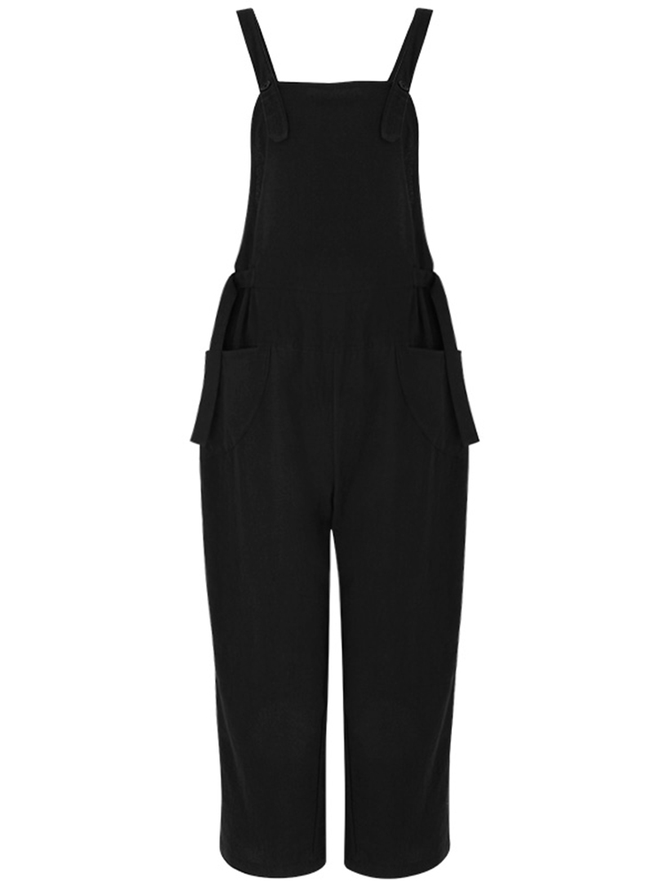 M-5XL Solid Color Sleeveless Strappy Jumpsuit