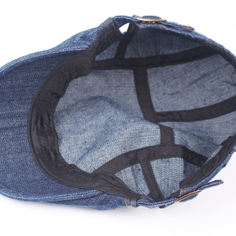 Mens Womens Washed Denim Adjustable Solid Painter Beret Hat