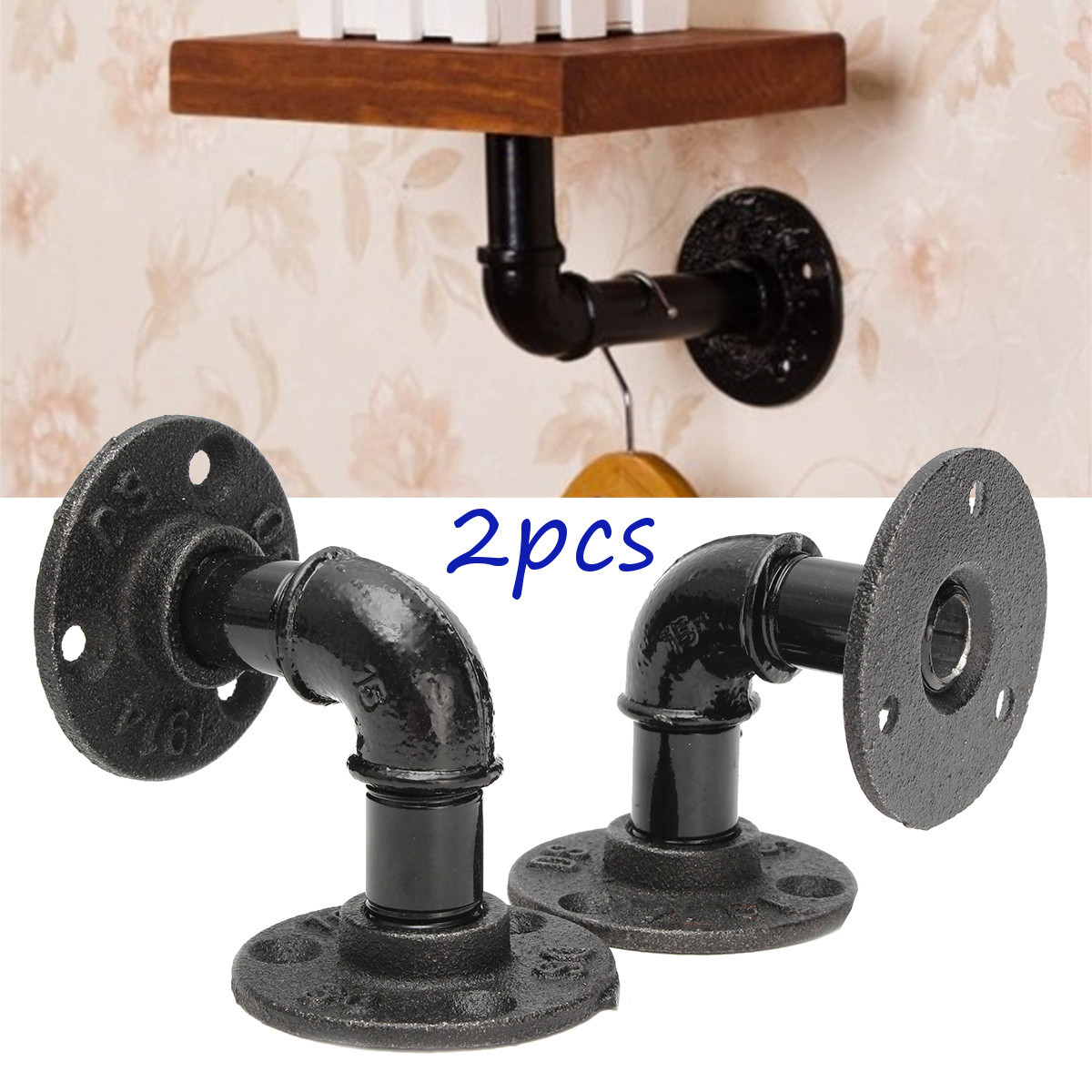 2Pcs Vintage Country Style Pipe Shelf Bracket Stand Holder for Industrial Steampunk DIY Home Decor