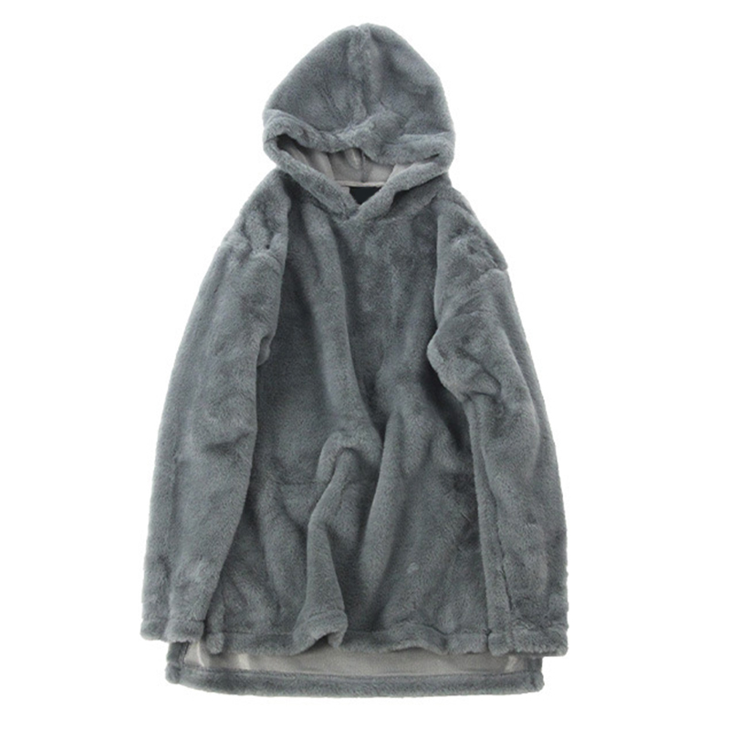 Autumn Winter Hip Hop Style Fleece Hooded Sweatshirt For Men