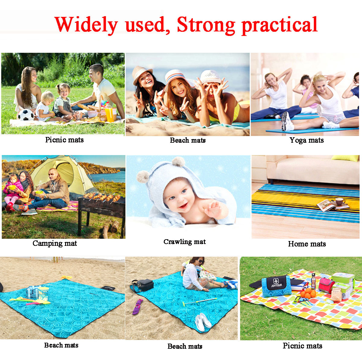 200x200CM Extra Large Waterproof Picnic Mat Outdooors Camping Beach Moisture Proof Blanket