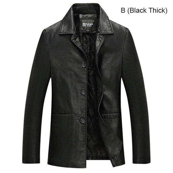 Mens PU Leather Turn-down Jacket Fashion Black Solid Color Single-breasted Coat