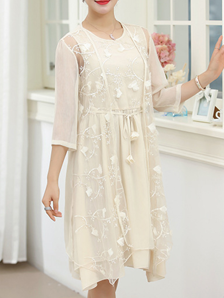 Women Two Pieces Set Embroidered Dress