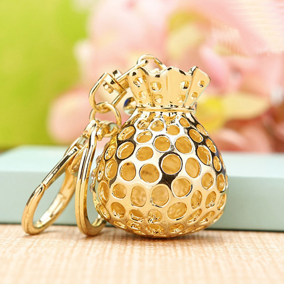 Heart Pink Crystal Bowknot Bag Purse Keyring Charm Keychain Jewelry