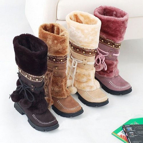 Women Warm Mid Calf Snow Boots