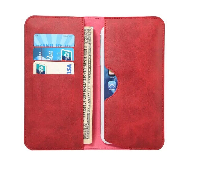 Dual Pocket Business Leather Clutch Bag Card Case Purse For 5.5 Inch iPhone 7 Smartphone
