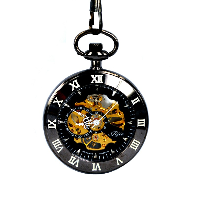 JIJIA JX004 Self-wind Mechanical Round Dial Retro Pocket Watch