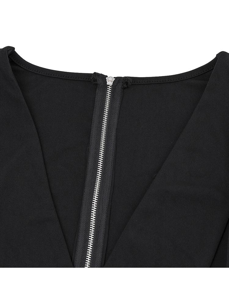Sexy Solid Deep V Neck Speaker sleeve Zipper Short Women T-Shirt