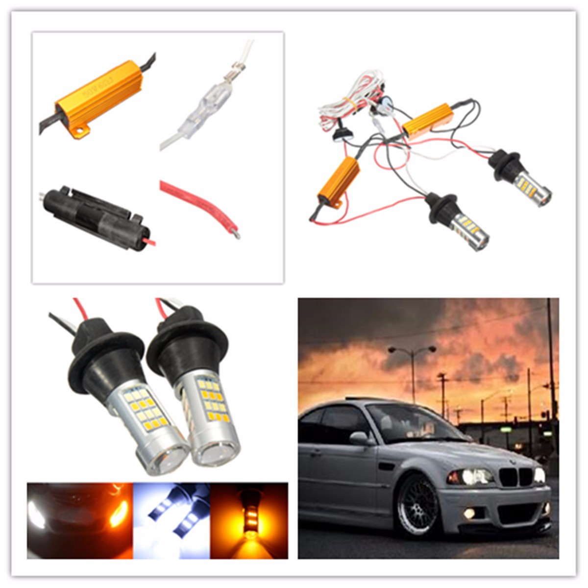 Pair 50W Error Free T20 LED Dual-Color DRL Daytime Running Turn Signal Light Bulb KIT