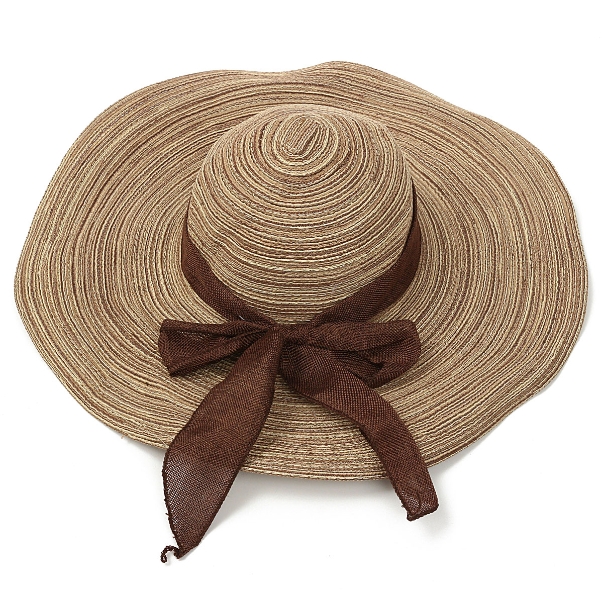 Women Girls Wide Brim Straw Floppy Bowknot Linen Hat Summer Beach Sun Foldable Cap